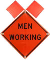 Men Working with Flags Sign