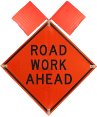 Road Work Ahead with Flags Sign