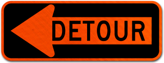 Detour Left Arrow Sign