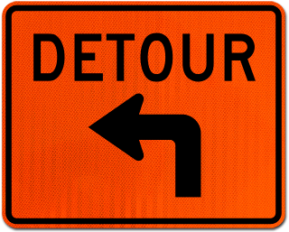 Detour Left Turn Sign
