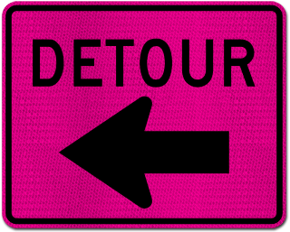 Pink Detour Sign (Left Arrow)
