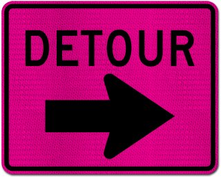 Pink Detour Sign (Right Arrow)