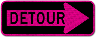 Pink Detour Right Arrow Sign