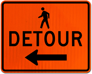 Pedestrian Detour Sign (Left Arrow)