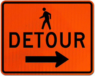 Pedestrian Detour Sign (Right Arrow)