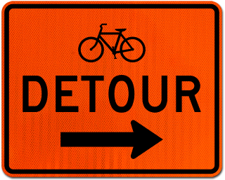 Bike Detour Sign (Right Arrow)