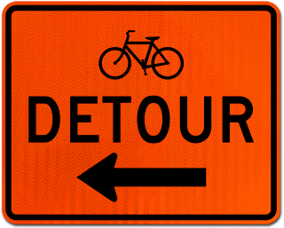 Bike Detour Sign (Left Arrow)