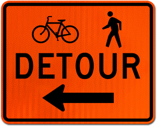 Bike / Pedestrian Detour Sign (Left Arrow)