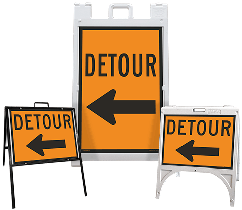 Detour (Left Arrow) Sandwich Board Sign
