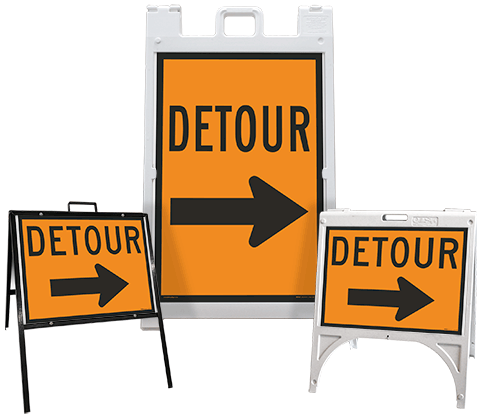 Detour (Right Arrow) Sandwich Board Sign