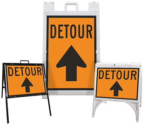 Detour (Up Arrow) Sandwich Board Sign