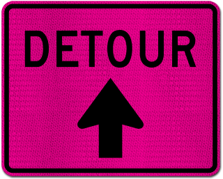 Pink Detour Sign (Up Arrow)