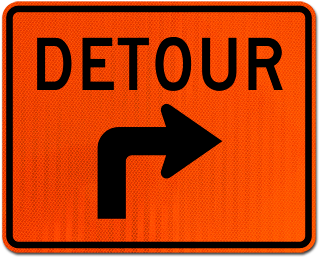 Detour Right Turn Sign