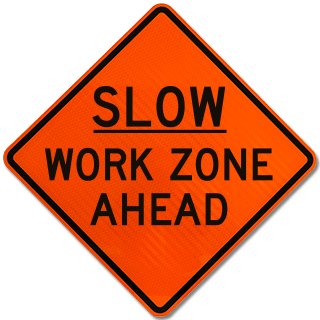 Slow Work Zone Ahead Sign