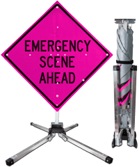Emergency Scene Ahead Fold and Roll Sign and Stand