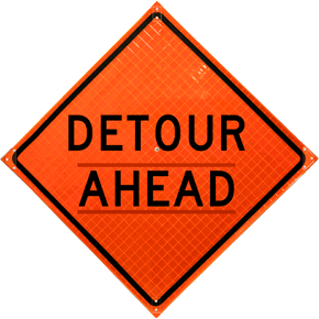Detour Ahead Roll-Up Sign