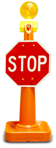 "42"" Traffic Cone with Stop/Slow Sign, and Light"