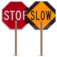 "60"" Staff Stop / Slow Sign Paddle"