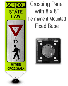 School Yield To Pedestrians In-Street Sign with Fixed Base