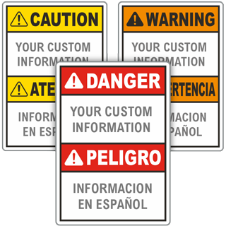 Custom Bilingual ANSI Sign with Text Only