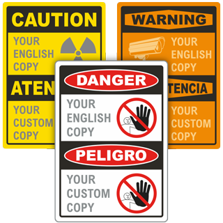 Custom Bilingual OSHA Sign with Stock or Custom Image