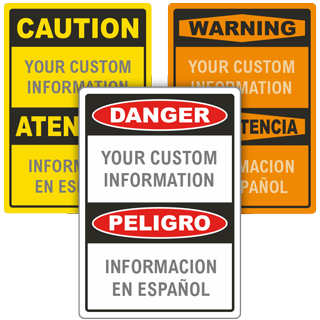 Custom Bilingual OSHA Sign with Text Only