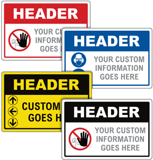 Custom Blank Header Signs with 28 Unique Templates