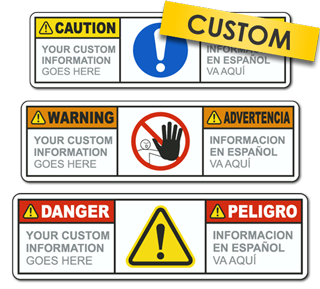 Custom Image and Text Bilingual ANSI / ISO Safety Label
