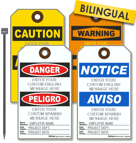 Custom Bilingual OSHA Tag with Text and Image (25/Pkg)