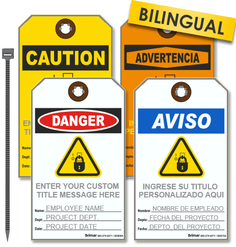 Custom OSHA Safety Tag with Text and Image (25/Pkg)