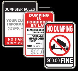 Custom No Dumping Sign