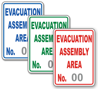 Custom Evacuation Area Signs