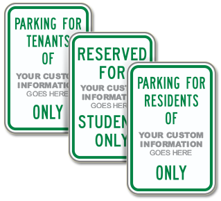Custom Reserved For Residents Sign