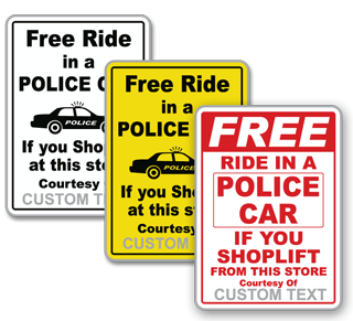 Custom Shoplifting Sign