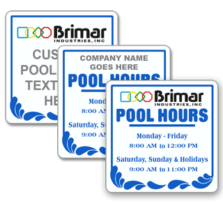 Custom Pool Hours Sign