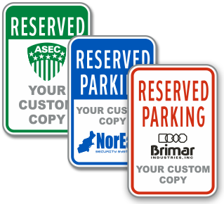Custom Reserved Parking For Sign with Text and Image