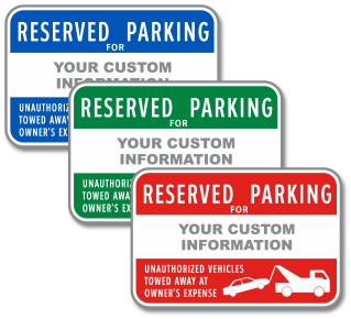 Custom Reserved Parking For Sign with Text Only