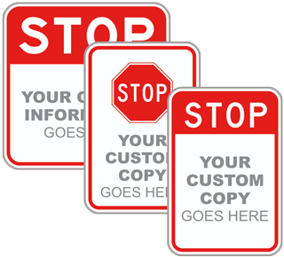 Custom Stop Blank Signs with Text or Image
