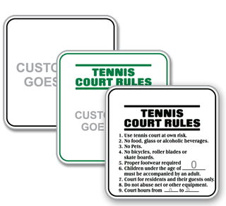 Custom Tennis Court Rules Sign