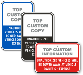 Custom Tow-Away Parking Signs with Text Only