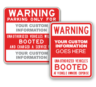 Custom Auto Boot Warning Sign