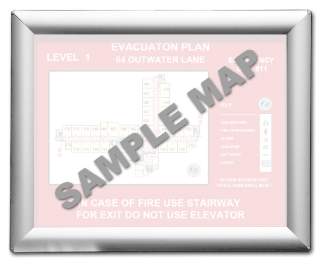 "8-1/2 x 11"" Aluminum Evacuation Map Holder"