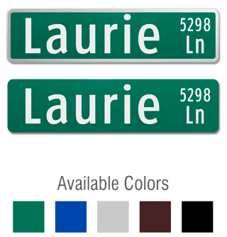 Official Street Sign with Suffix and Street Number