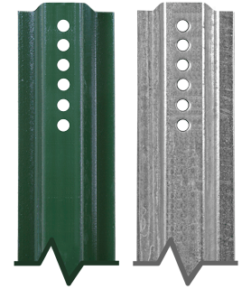 3' U-Channel Anchor Posts - Green Enamel and Galvanized