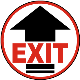 Graphical Warehouse Fire Exit Up Arrow Floor Sign-19x7