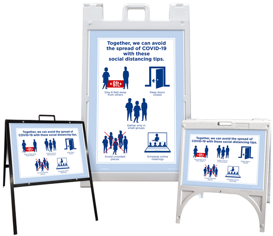 Social Distancing Tips Sandwich Board Sign