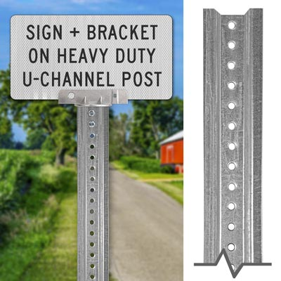 Heavy-duty Galvanized Sign Post – Sign + Bracket Mounting