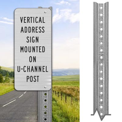 Lightweight  Galvanized Sign Post - Direct Sign Mounting