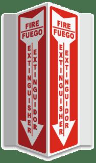 Bilingual Fire Extinguisher 3-Way Sign