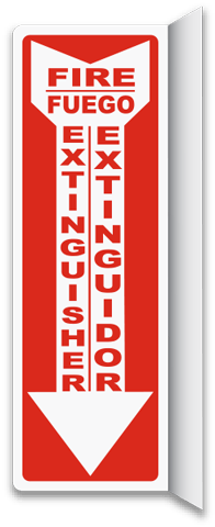 Bilingual 2-Way Fire Extinguisher Sign